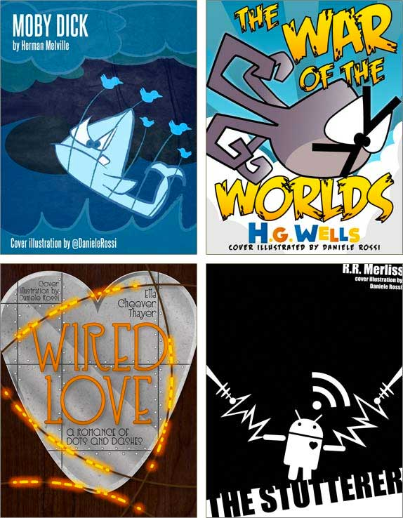 Four book covers each with their own unique cartoon illustrations containing a whale, an octopus, a metal heart, and a robot.