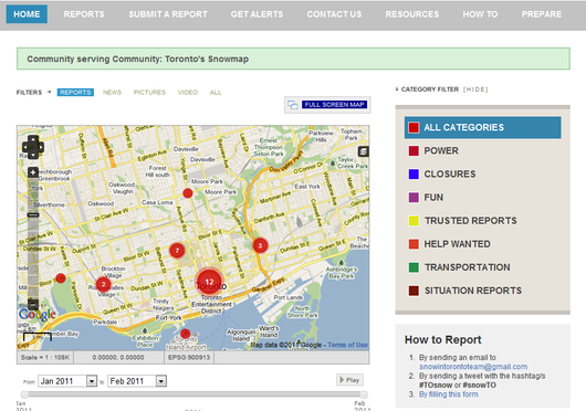 Snow In Toronto citizen mapping