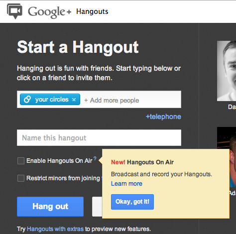 Screenshot showing the option to enable Hangouts On Air