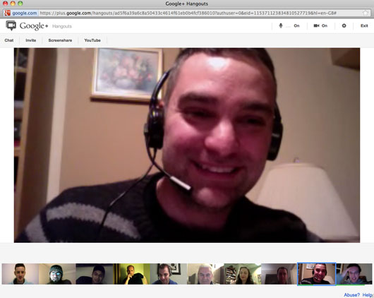 Screen shot of Google Plus Hangout (same one that appeared in The Globe and Mail!)
