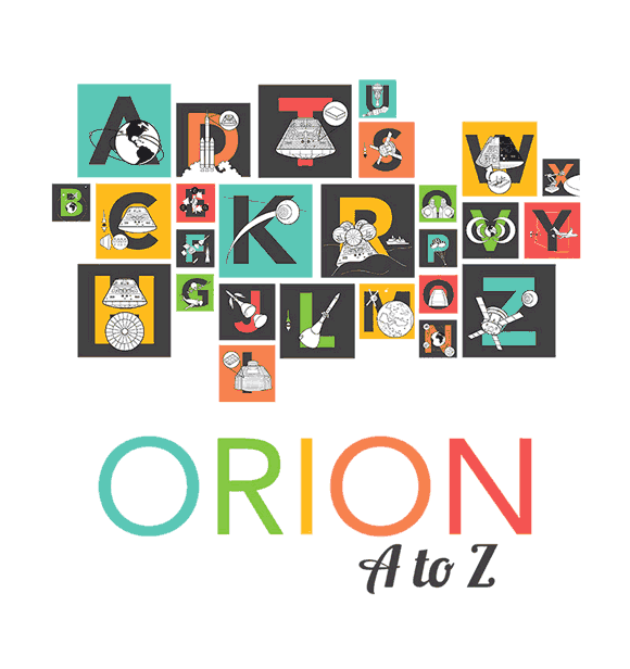 Nasa's brilliant tag cloud style collage of some of their pictograms describing Orion's features