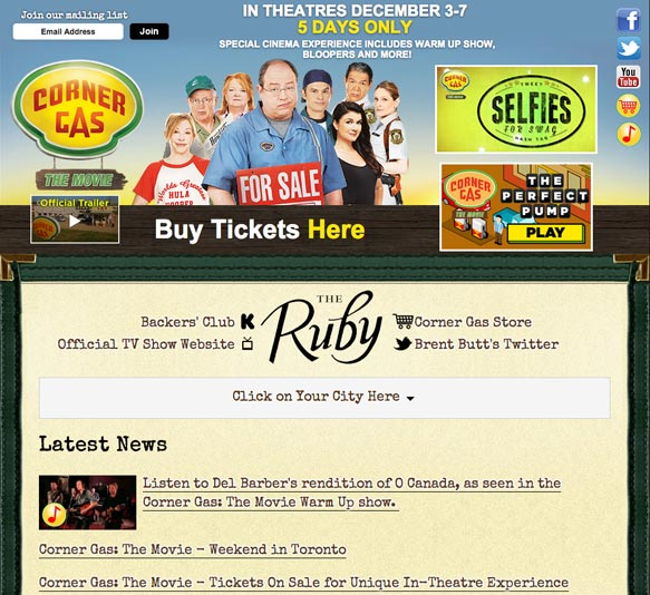 Screen grab of the Corner Gas: The Movie website