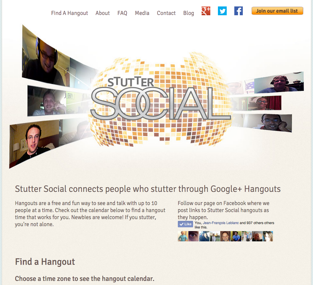 Screen shot of the Stutter Social website