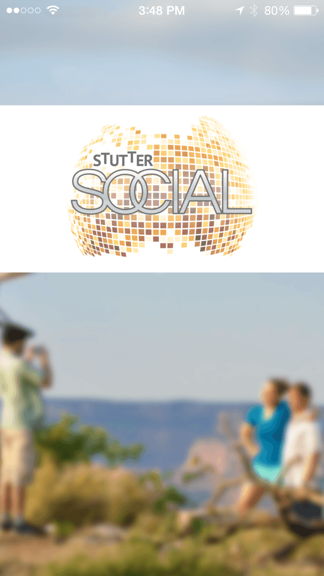 Start screen of the Stutter Social app
