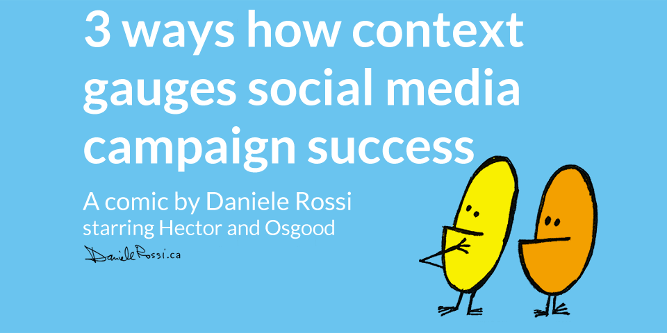 Title card for the comic entitled 3 ways how context gauges social media campaign success. A comic by Daniele Rossi starring Hector and Osgood.