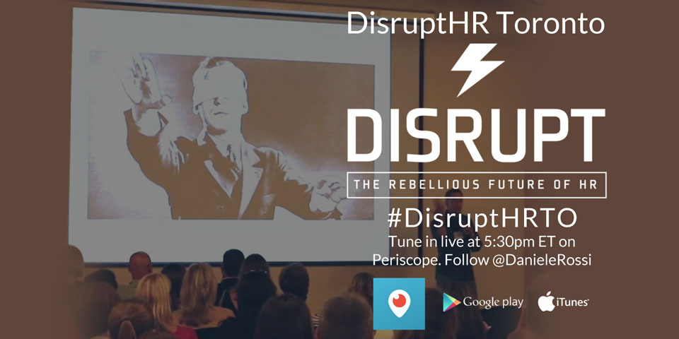 The social media optimized promo graphic I created for  promoting the live streaming of #DisruptHRTO. It contains viewing instructions over a background image of a presentation from a previous event