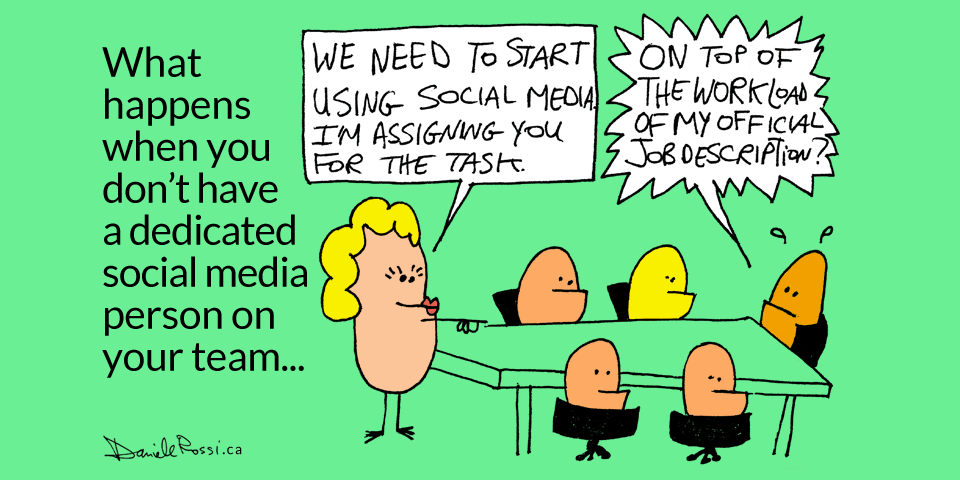 "A cartoon of aliens sitting around a boardroom table. The boss at one end of the table is pointing to an employee at the other end. The boss is saying ""We need to start using social media. I'm assigning you for the task"". The employee is worried and asks ""On top of the work load my official job description?"""