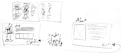 Pencil sketches of wireframes
