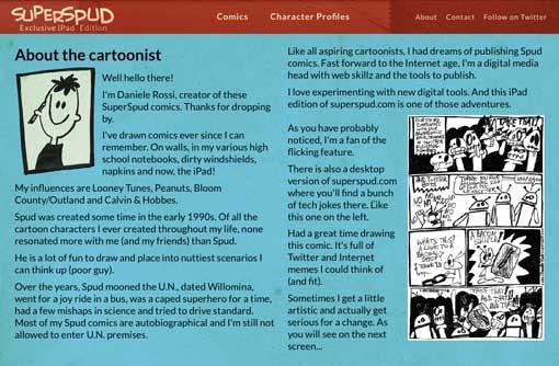 Screenshot of a website displaying a bio